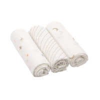 Mulltücher - Heavenly Soft Swaddle L, Stars & Moon Gold