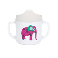 Trinklernbecher 2-handle cup with lid, Wildlife Elephant