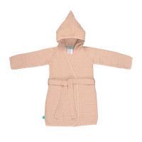 Kinder Bademantel aus Mull - Muslin Bathrobe, Light Pink