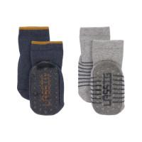 Kinder Antirutsch-Socken (2er-Pack) - Anti-Slip Socks, Blue Grey