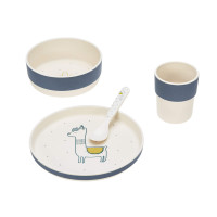 Kindergeschirr Set mit Bambus - Dish Set, Glama Lama Blue